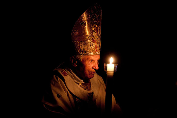 Pope Benedict XVI celebrates Easter Vigil Mass in St. Peter's Basilica