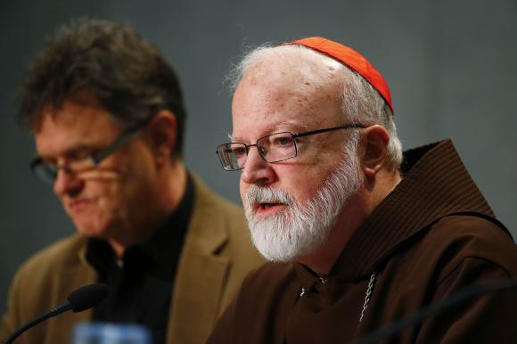 Cardinal Sean Patrick O'Malley, a member of a commission tackling sexual abuse, holds a news conference at the Vatican